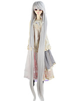 cheap -Synthetic Doll Accessories Very Long Straight Silver Gray Color Wig for 1/3 1/4 BJD SD DZ MSD Doll hair Not for Human Adult Wigs