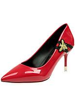preiswerte -Damen Schuhe PU Frühling Herbst Komfort High Heels Stöckelabsatz für Schwarz Rot