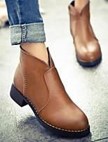 abordables -Mujer Zapatos PU Primavera Otoño Confort Botas hasta el Tobillo Botas Tacón Cuadrado para Casual Negro Marrón