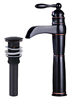 cheap -Antique Centerset Waterfall Ceramic Valve Single Handle One Hole Oil-rubbed Bronze , Bathroom Sink Faucet