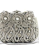 cheap -Women Bags PU Metal Evening Bag Crystal Detailing Flower(s) Pockets for Event/Party All Season Black/White Silver