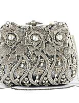 preiswerte -Damen Taschen PU Metall Abendtasche Kristall Verzierung Blume(n) Taschen für Veranstaltung / Fest Alle Jahreszeiten Silber Schwarz/weiss