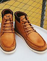 Недорогие -Муж. обувь Дерматин Зима Осень Удобная обувь Ботинки Ботинки для Черный Темно-русый Темно-коричневый