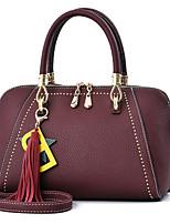 cheap -Women's Bags PU Tote Zipper for Casual Winter Summer Khaki Dark Red Yellow Red Black
