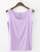 cheap -Women's Daily Street chic Tank Top,Solid Strap Sleeveless Polyester