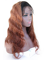 cheap -8A Lace Front Wig Virgin Hair Glueless Brazilian Body Wave Human Hair with Baby Hair #1B/30 Natural Hairline Medium Auburn