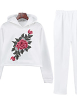 cheap -Women's Casual/Daily Simple Fall Hoodie Pant Suits,Floral Hooded Long Sleeve Cotton