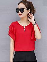 cheap -Women's Daily Going out Casual Street chic Spring Summer BlouseSolid Round Neck Short Sleeve Polyester
