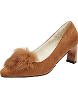cheap -Women's Shoes Cashmere Spring Comfort Heels Chunky Heel Round Toe for Casual Black Brown