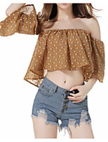 cheap -Women's Daily Simple Summer Blouse,Polka Dot Round Neck ½ Length Sleeve Polyester