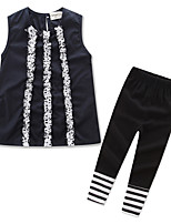 cheap -Girls' Daily Solid Striped Clothing Set, Cotton Polyester Summer Cute Casual Black