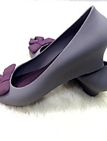 cheap -Women's Shoes Rubber Summer Comfort Heels Wedge Heel Round Toe Bowknot for Casual Light Pink Purple Gray Black