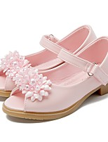 Недорогие -Девочки обувь Дерматин Лето Осень Детская праздничная обувь Крошечные Каблуки для подростков Сандалии Цветы На липучках для Для праздника