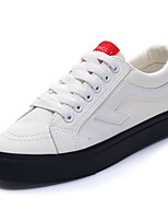 cheap -Women's Shoes Fabric Spring Fall Comfort Sneakers Flat Heel Round Toe for Casual Black White