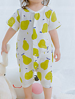 cheap -Baby Girls' Casual/Daily Jacquard One-Pieces, Cotton Summer Ordinary Short Sleeves White Blushing Pink Yellow Light Green Light Blue