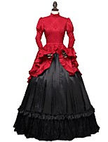 cheap -Rococo Victorian Costume Women's Adults' One Piece Dress Red+Black Vintage Cosplay Dobby Fabric Long Sleeves Puff/Balloon Ankle Length