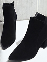 cheap -Women's Shoes Nubuck leather PU Winter Fall Comfort Bootie Boots Chunky Heel Booties/Ankle Boots for Casual Black