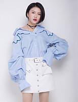 Camicia Da donna Per eventi Per uscire Attivo A strisce Colletto Poliestere Maniche lunghe