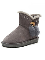 cheap -Women's Shoes PU Winter Fur Lining Comfort Snow Boots Boots Flat Heel Round Toe Mid-Calf Boots for Casual Brown Gray Black