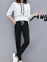 cheap -Women's Daily Sports Casual Fall Hoodie Pant Suits,Print Hooded Long Sleeve Polyester