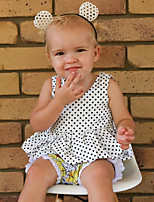 cheap -Baby Girl's Daily Solid Polka Dot Dress, Wool Cotton Linen Bamboo Fiber Acrylic Spring Simple Vintage Sleeveless White