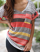 cheap -Women's Daily Casual Summer Fall T-shirt,Striped V Neck ½ Length Sleeve Polyester Thin