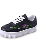 cheap -Women's Shoes PU Spring Fall Comfort Sneakers Flat Heel for Casual Black White