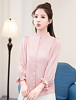 cheap -Women's Casual/Daily Street chic Blouse,Solid Stand 3/4 Length Sleeve Polyester