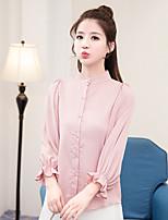 Недорогие -Для женщин На каждый день Блуза Воротник-стойка,Уличный стиль Однотонный Полиэстер