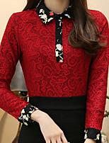 economico -T-shirt Da donna Quotidiano Casual Inverno Autunno,Tinta unita Fantasia floreale Colletto Poliestere Maniche lunghe Opaco