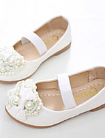 cheap -Girls' Shoes PU Spring Fall Flower Girl Shoes Novelty Comfort Flats Bowknot Beading Pearl Gore for Party & Evening Dress White Pink