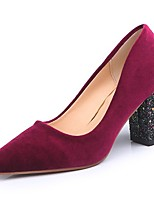 cheap -Women's Shoes PU Winter Fall Basic Pump Comfort Heels Chunky Heel Pointed Toe for Dress Wine Black