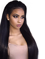 cheap -Remy Brazilian Lace Wig Straight With Baby Hair Glueless Lace Front 100% Virgin Natural Hairline 150% Density Natural Black Short Medium
