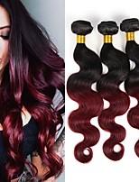economico -3 pezzi Nero / vino scuro Ondulato naturale Brasiliano Tessiture capelli umani Extensions per capelli 0.3kg