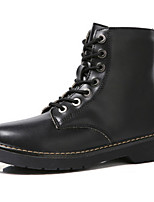 cheap -Men's Shoes Leather Winter Fall Comfort Combat Boots Boots Booties/Ankle Boots for Casual Outdoor Black White
