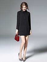 preiswerte -Damen Lose Kleid-Alltag Ausgehen Freizeit Street Schick Solide Hemdkragen Mini Langärmelige Polyester Frühling Mittlere Taillenlinie