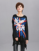 cheap -Women's Daily Vintage All Seasons T-shirt,Print Round Neck Long Sleeve Polyester Medium