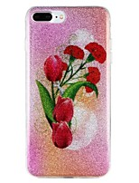 baratos -Capinha Para Apple iPhone 7 iPhone 6 Estampada Capa Traseira Glitter Brilhante Flor Rígida PC para iPhone 7 Plus iPhone 7 iPhone 6s Plus