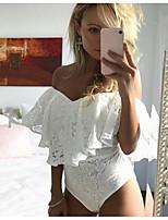 preiswerte -Damen Solide Sexy Festtage T-shirt,Schulterfrei Kurze Ärmel Baumwolle