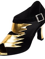 cheap -Women's Latin Flocking Faux Leather Sandal Heel Professional Splicing Customized Heel Black/Gold / Customizable
