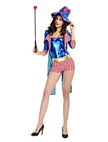 cheap -Circus Ringmaster Cosplay Costume Party Costume Female Halloween Carnival Festival / Holiday Halloween Costumes Blue Color Block
