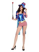 abordables -Circo Jefe de pista Disfrace de Cosplay Ropa de Fiesta Mujer Halloween Carnaval Festival / Celebración Disfraces de Halloween Azul Piscina