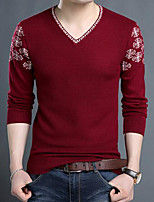 cheap -Men's Daily Casual Regular Pullover,Print V Neck Long Sleeves Polyester Japanese Cotton Winter Fall Thick Micro-elastic