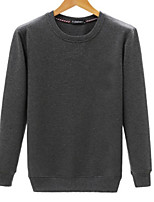 cheap -Men's Going out Casual/Daily Sweatshirt Solid Round Neck Micro-elastic Cotton Long Sleeves Winter Fall
