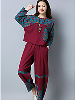 cheap -Women's Daily Going out Casual Spring Fall Set Pant Suits,Print Round Neck Long Sleeve Linen