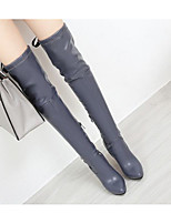 cheap -Women's Shoes PU Spring Fall Comfort Fashion Boots Boots High Heel Over The Knee Boots for Casual Black Beige Gray Almond