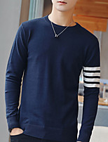cheap -Men's Daily Casual Short Pullover,Solid Striped Round Neck Long Sleeves Polyester Winter Fall Opaque Micro-elastic