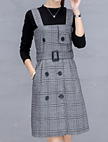cheap -Women's Daily Vintage Spring Fall Set Dress Suits,Striped Round Neck Long Sleeve Polyester Micro-elastic