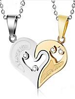 Недорогие -Муж. Жен. Сердце Мода Ожерелья с подвесками Цирконий Нержавеющая сталь Ожерелья с подвесками ,