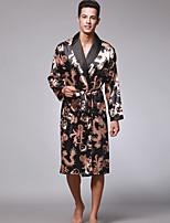 abordables -Satin & Soie Pyjamas Homme Fin Polyester Noir Chameau Gris Vin Bleu royal